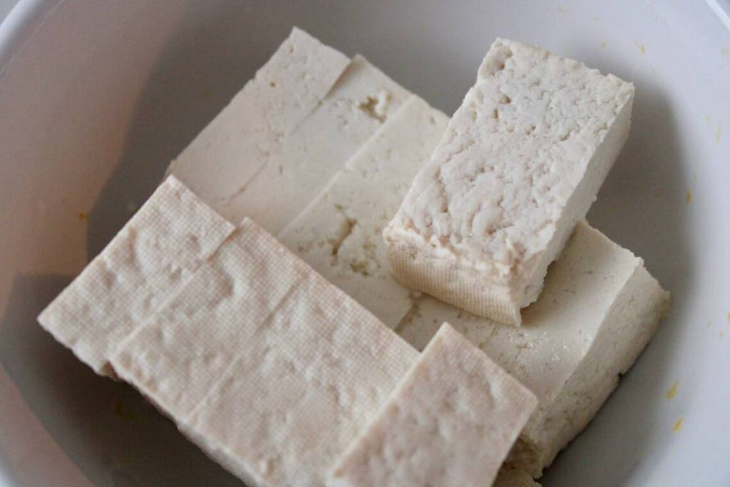 Slices of tofu for our vegan taco recipe