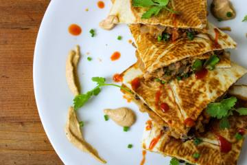 vegan buffalo quesadillas with mexican cashew cream