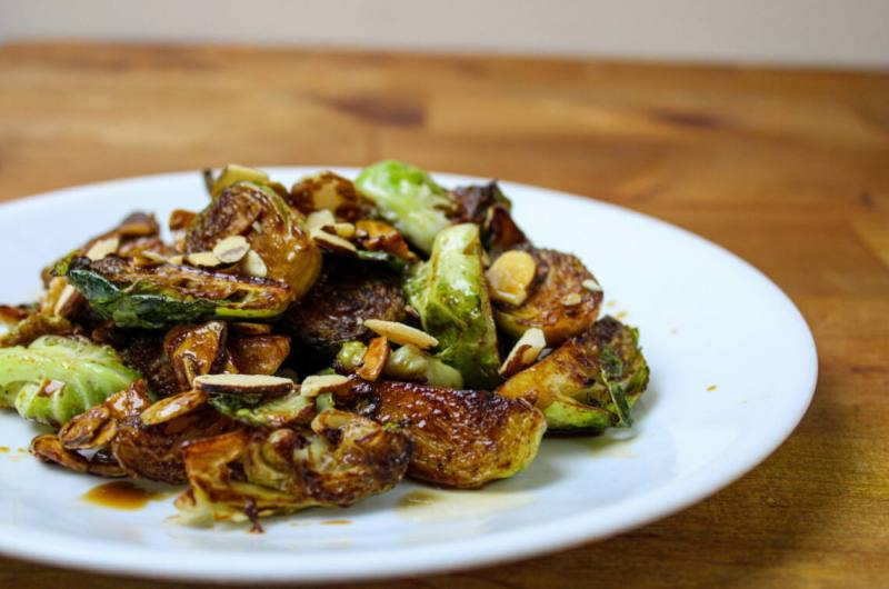 Balsamic Glazed Brussel Sprouts with Almonds