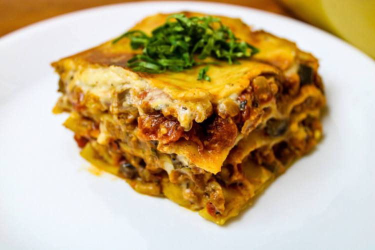 serving of vegan lasagna